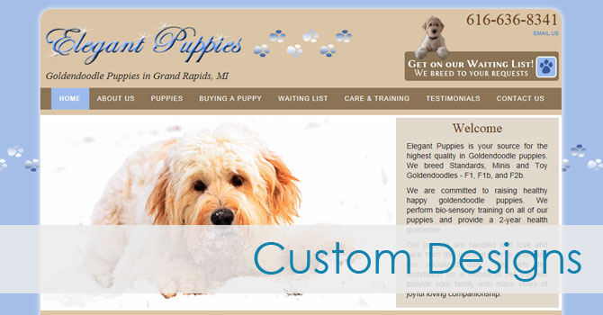 custom dog breeder website design